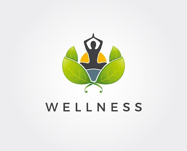 Logotipo linear humano abstrato da ioga. logotipo do equilíbrio da flor da pessoa da linha. spa criativo, marca de vetor de guru.