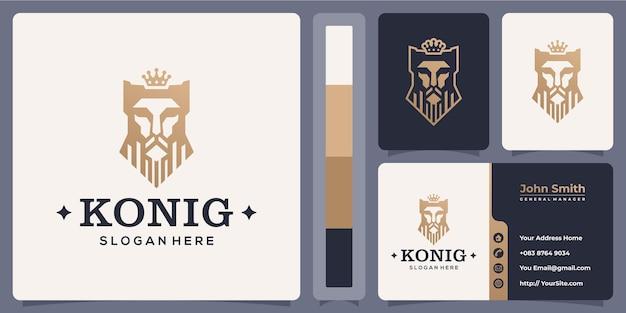 Logotipo luxuoso da cabeça de konig shah com modelo de cartão de visita