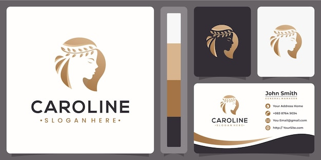 Logotipo luxuoso de beleza de mulher com conceito de cartão de visita