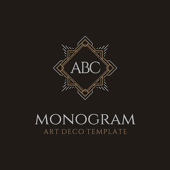 Logotipo luxuoso do monograma das iniciais do art deco