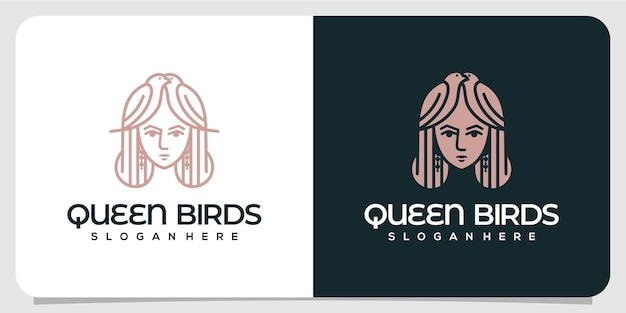 Logotipo luxuoso do queen birds