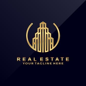 Logotipo luxuoso moderno dos bens imobiliários 3d