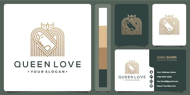 Logotipo luxuoso monoline da rainha com modelo de cartão de visita