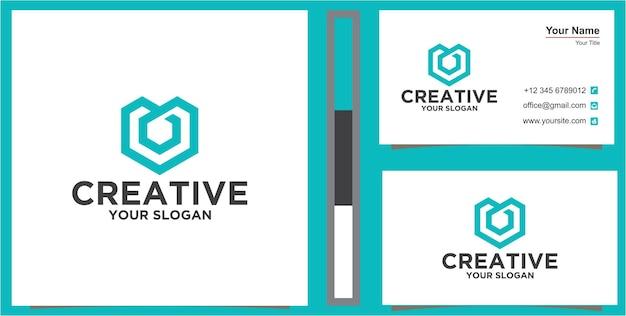 Logotipo m azul no conceito de hexágono com cartão de visita