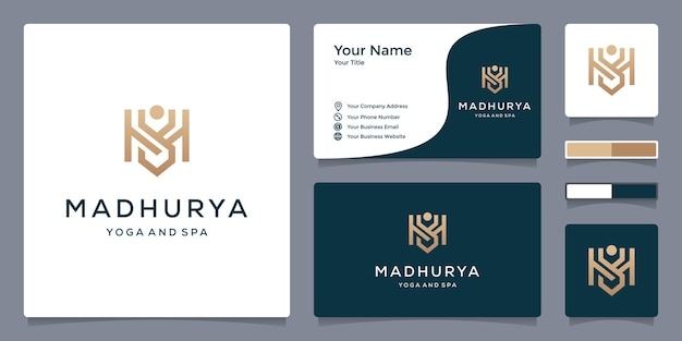 Logotipo m para ioga e spa com modelo de cartão de visita