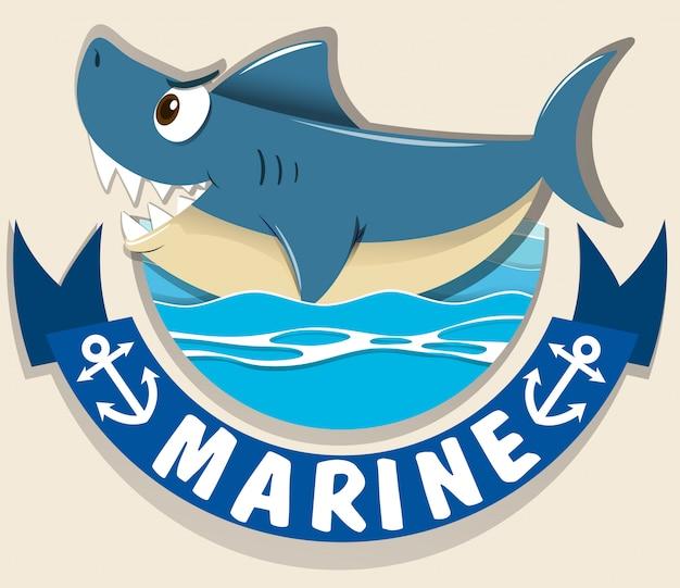Logotipo marinho com tubarão