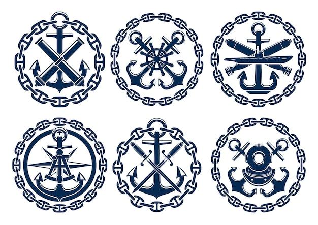 Logotipo marinho e náutico