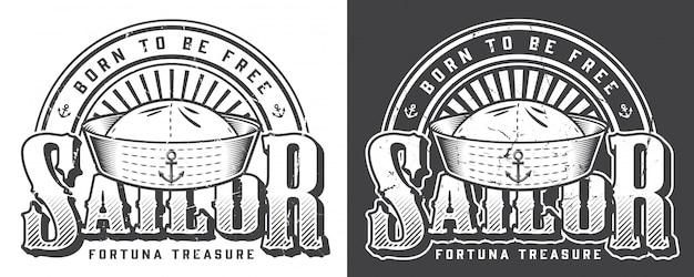 Logotipo marinho monocromático vintage