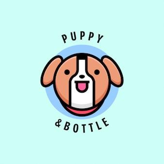 Logotipo marrom bonito do cachorro e da garrafa