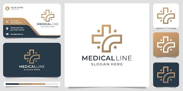 Logotipo médico com estilo de arte de linha moderna criativa e modelo de design de cartão de visita