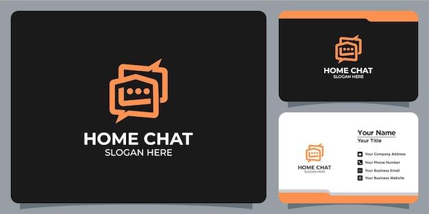 Logotipo minimalista da casa com combinação de sala de bate-papo com a marca do cartão de visita