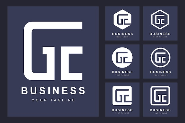 Logotipo minimalista da letra ge com várias versões