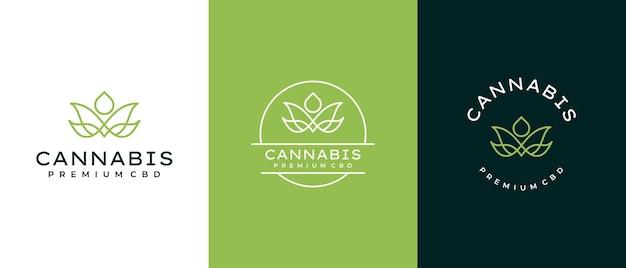 Logotipo minimalista de cannabis com conceito de queda