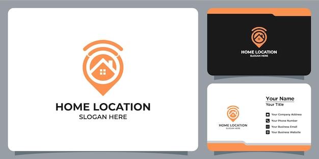 Logótipo minimalista de casa e localização definido com a marca do cartão de visita Vetor Premium