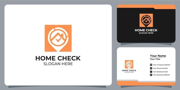 Logótipo minimalista de casa e localização definido com a marca do cartão de visita