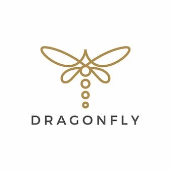 Logotipo minimalista de contorno de libélula