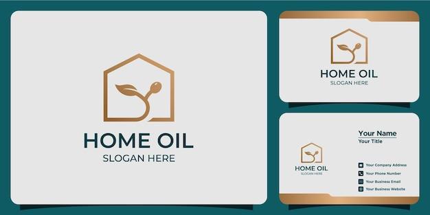 Logotipo minimalista de óleo para casa com design moderno de logotipo e cartão de visita