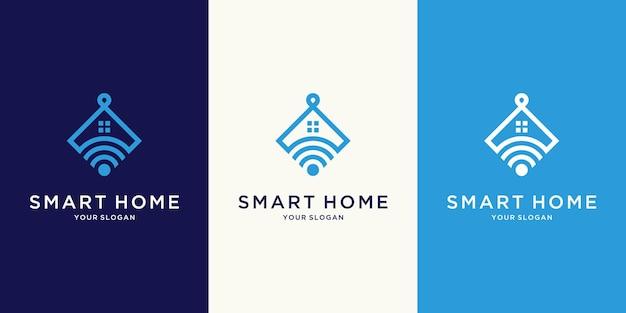 Logotipo minimalista de smart home tech com estilo de arte de linha