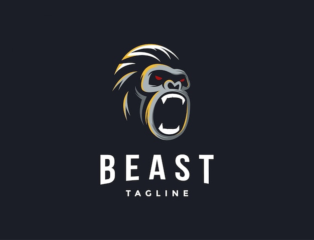 Logotipo minimalista do gorila poderoso