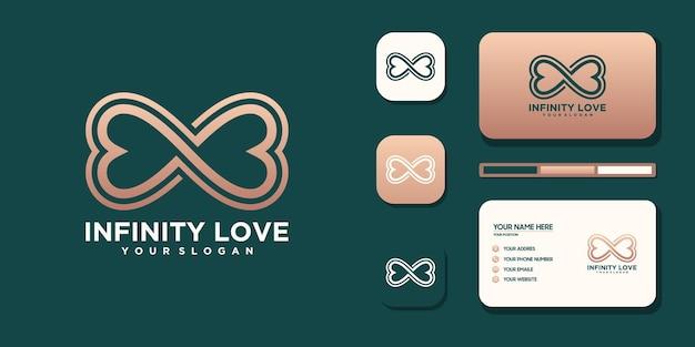 Logotipo minimalista do infinity love e referência de cartão de visita