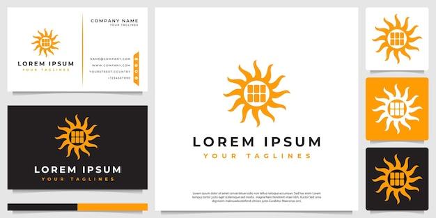 Logotipo minimalista do painel solar