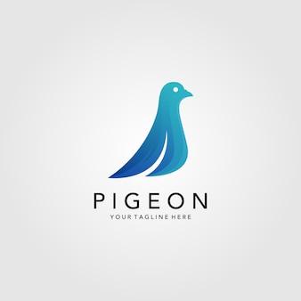 Logotipo minimalista do pássaro pombo