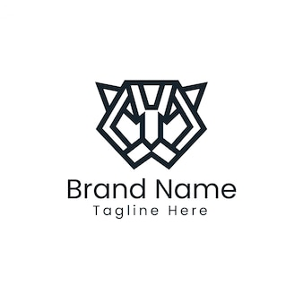 Logotipo minimalista do tigre - logotipo geométrico do tigre