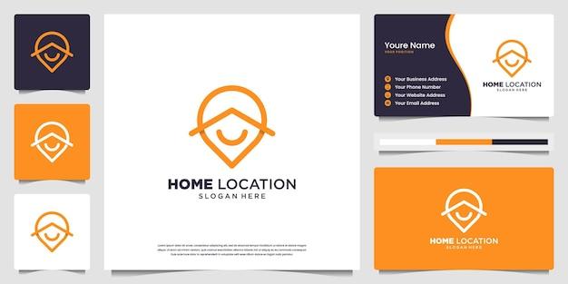 Logotipo minimalista e elegante de localização de casa e design de cartão de visita