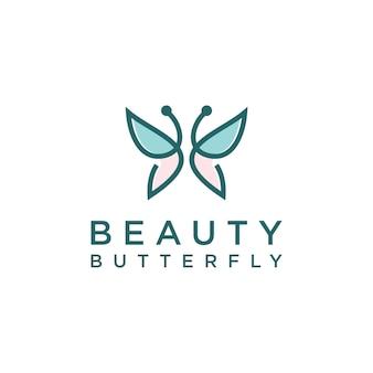 Logotipo minimalista em forma de monograma de arte em linha de borboleta