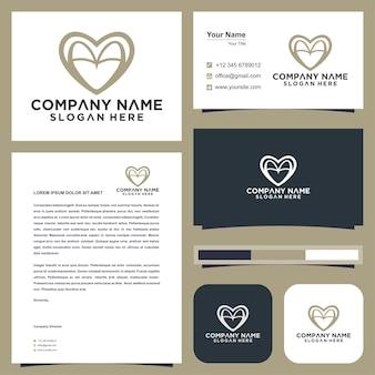 Logotipo mínimo aa com letra inicial de amor e cartão de visita premium