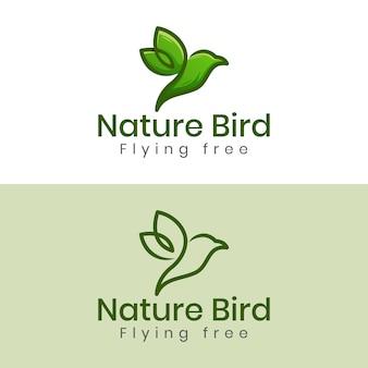 Logotipo mínimo da natureza pássaro ou pássaro voador liberdade com duas versões