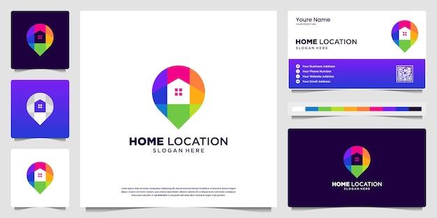 Logotipo moderno colorido da localização da residência e design de cartão de visita