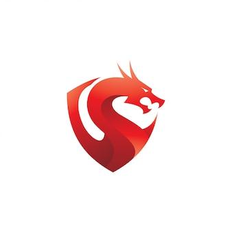 Logotipo moderno colorido dragão e escudo