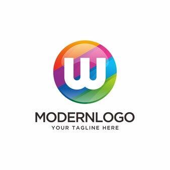 Logotipo moderno colorido letra w
