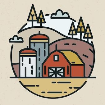 Logotipo moderno com paisagem rural e construção de fazenda com silos para armazenamento de grãos desenhado em estilo linear. logotipo redondo com terras agrícolas isoladas na luz de fundo. ilustração vetorial criativa