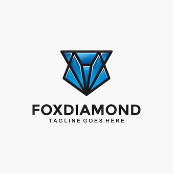 Logotipo moderno da fox diamond