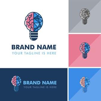 Logotipo moderno da lâmpada do cérebro