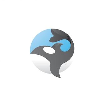 Logotipo moderno da whale orca