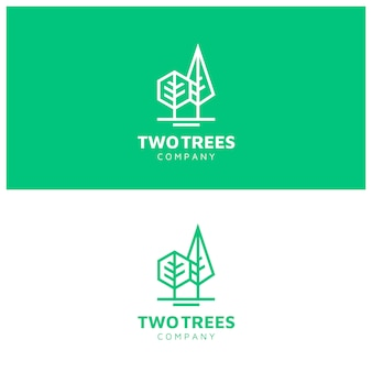 Logotipo moderno de árvores simples com estilo de arte de linha