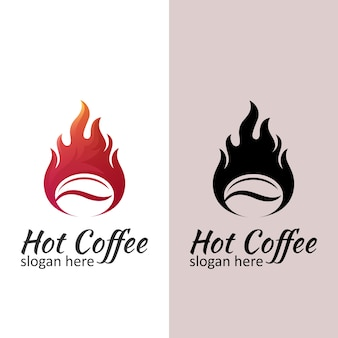Logotipo moderno de café quente, design de café torrado com estilo vintage