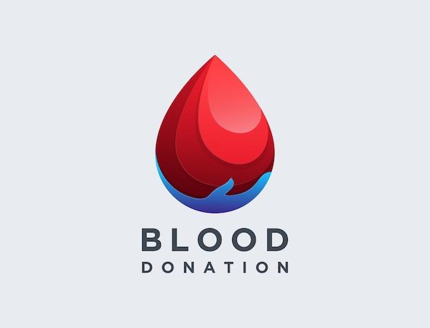 Logotipo moderno de doação de sangue com gota de sangue
