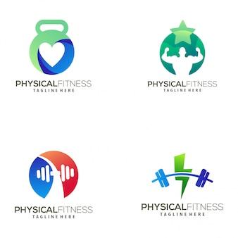 Logotipo moderno de fitness e design de ícone