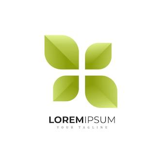 Logotipo moderno de folha verde