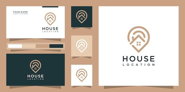 Logotipo moderno de localização de casa com estilo de arte de linha e design de cartão de visita