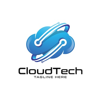 Logotipo moderno de nuvem e tecnologia