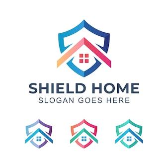 Logotipo moderno de segurança residencial com escudo