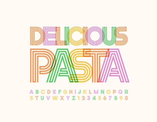 Logotipo moderno delicioso macarrão colorido labirinto fonte conjunto de letras e números do alfabeto brilhante