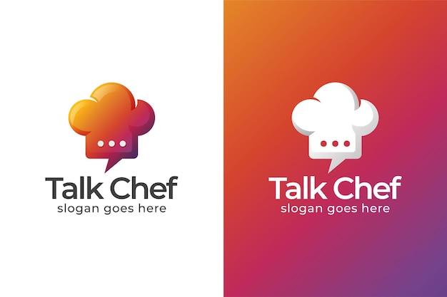 Logotipo moderno do chef de conversa sobre cores, receitas de comida, design de logotipo de empresa de alimentos online