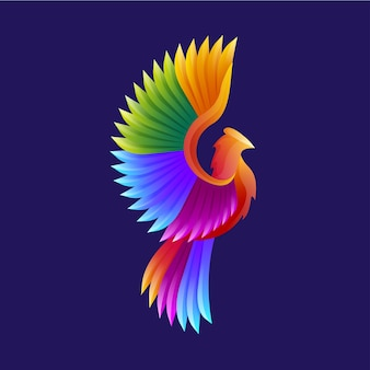 Logotipo moderno do pássaro colorido