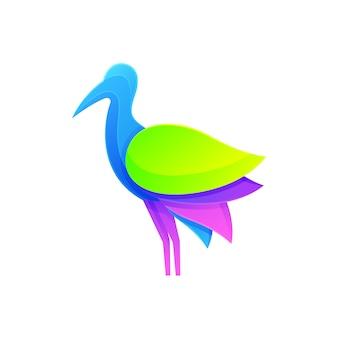Logotipo moderno do pássaro da garça-real